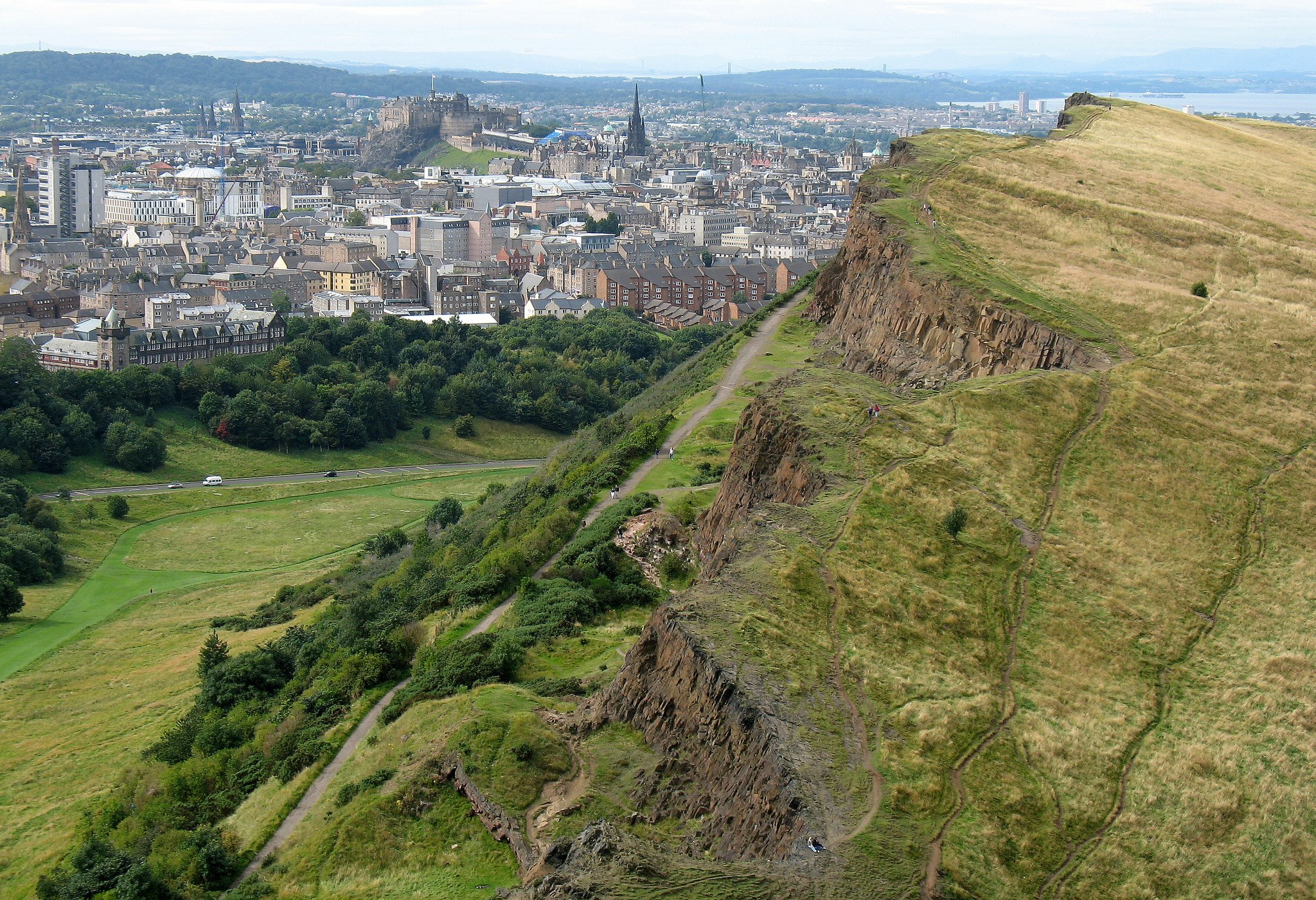 Edinburgh from the ascent to Arthur's Seat, Holyrood Park, Edinburgh, Scotland by Spencer Means (CC)